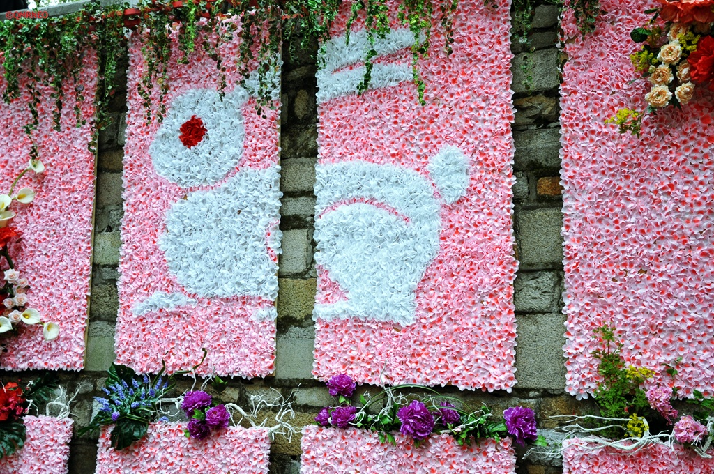 Decorated Rabbit year with flowers Tiger Hill Suzhou Jiangsu China mntravelog