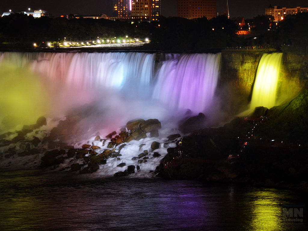 American Falls and Bridal Veil Falls Night view MNTravelog