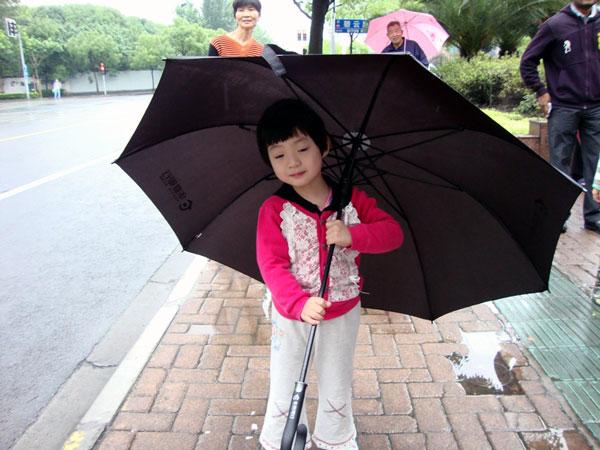 Little Girl waiting for her school shuttle MNtravelog